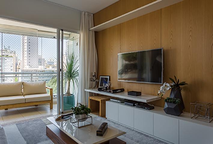 Sala de Estar Apartamento de Jovem Solteiro Tieppo Interiores