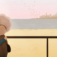 Illustration of old couple looking out to sea