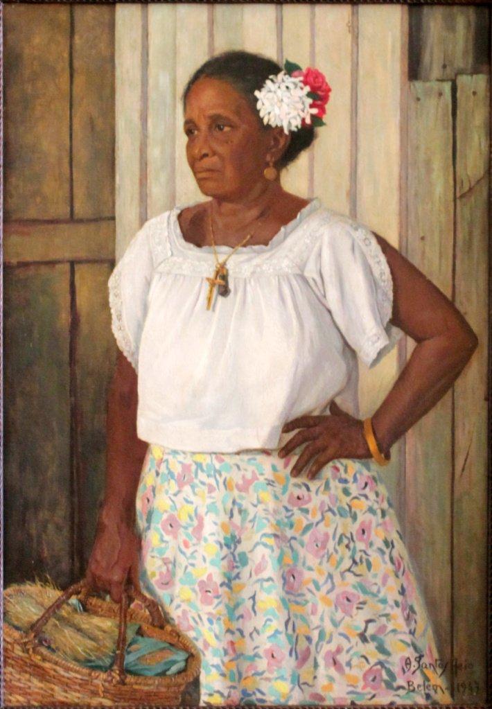 Antonieta Santos Feio, Vendedora de cheiro, 1947, Oleo sobre tela, 105 x 74 cm, Acervo Museu de Arte de Belem (Divulgação/Instituto Tomie Ohtake)